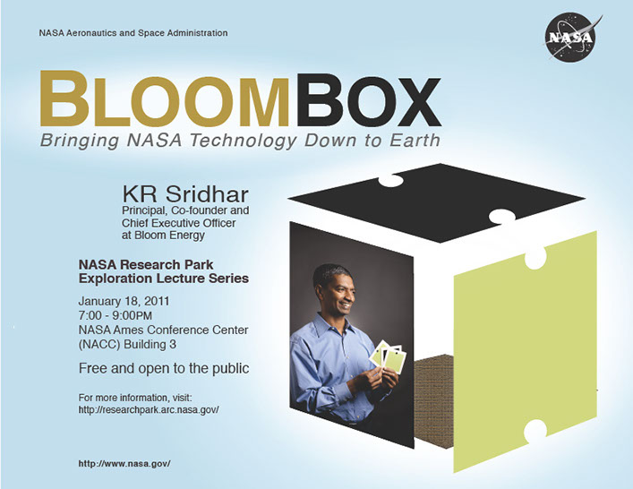 Event Poster: Bloom Energy at NASA Research Park